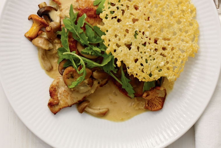 Turkey Scallopini With Mushrooms And Grizzly Gouda Canadian Goodness