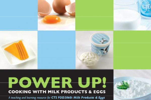 Cover of teacher resource with various foods containing eggs and milk products.