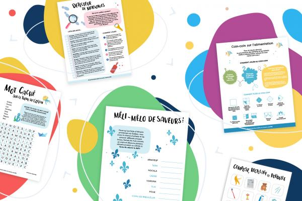 Illustration of the free activity sheets for school daycares