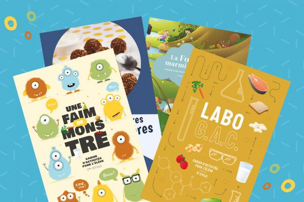 Activity books about Canada's Food Guide for preschool and elementary school.