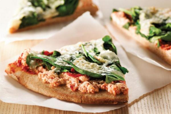 BBQ spinach and ricotta pizza