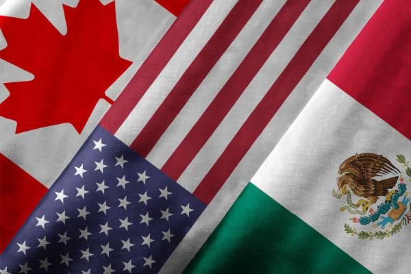The flags of the 3 NAFTA nations