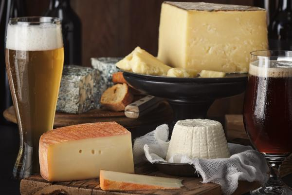 Beers with a variety of cheeses