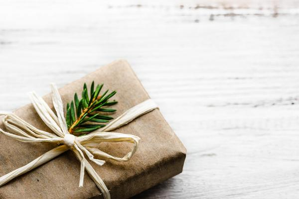 A gift wrapped in compostable wrapping