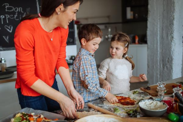 Kids help cook a meal
