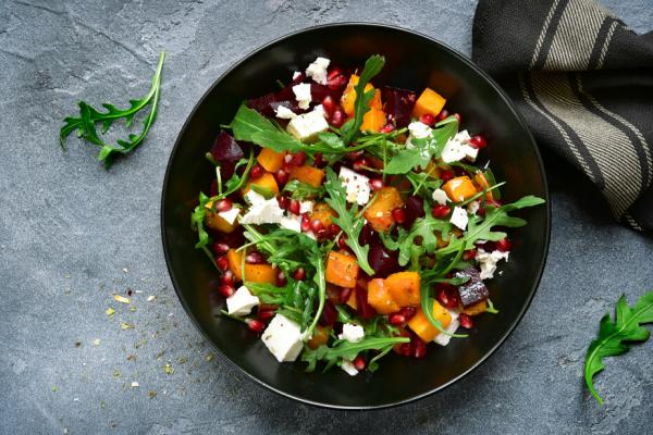 Pumpkin salad with arugula, beetroot and feta cheese