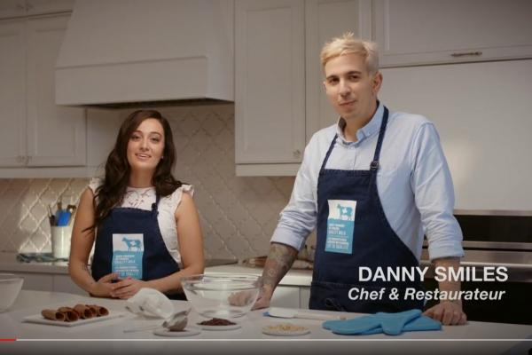 Sabrina Degni and Danny Smiles make cannolis.