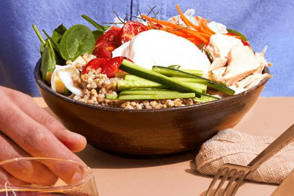Kasha Bowl with Vegetables and Burrata