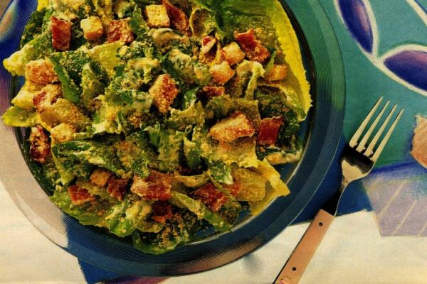 caesar salad with creamy garlic dressing