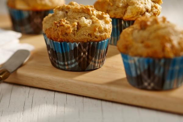 coral lentil pear and nut muffins