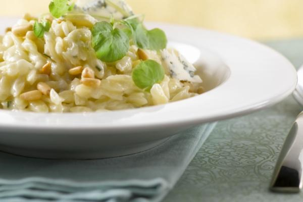 creamy orzo risotto with blue cheese and pine nuts