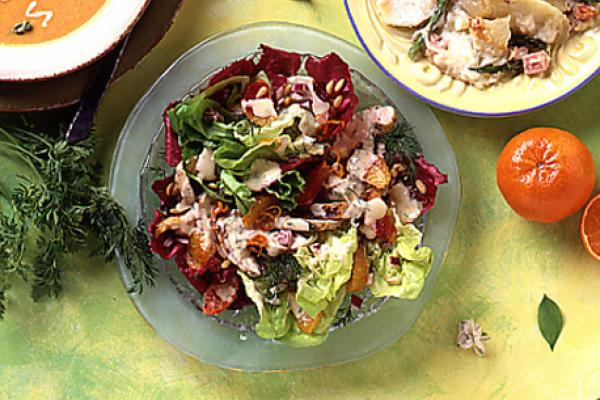 grilled chicken orange and pine nut salad