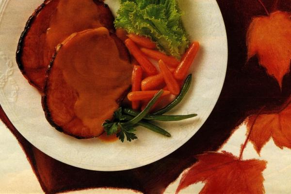 maple glazed ham with mustard sauce
