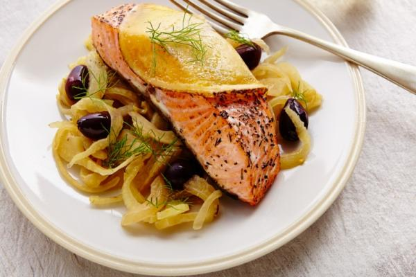 salmon with olive fennel compote cheddar
