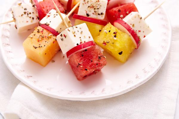 feta and melon brochettes