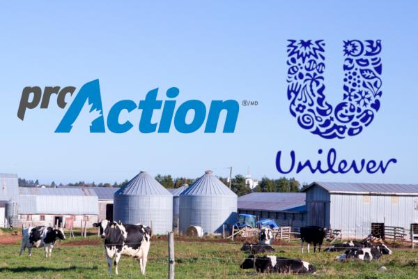 proAction and Unilever logos in fron of a dairy farm wiht cows out to pasture