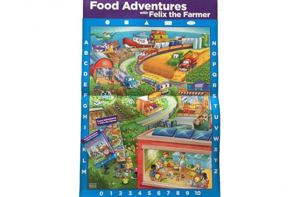 children's poster with landscape and food images