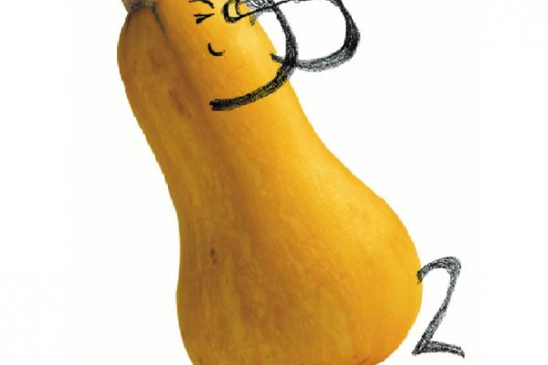 Image of a squash with arms and legs drawn on to look like he is peering through a telescope.
