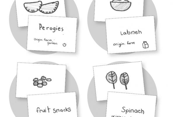 Four hand drawn Food Picture Cards showing perogies, labneh, fruit snacks, and spinach.