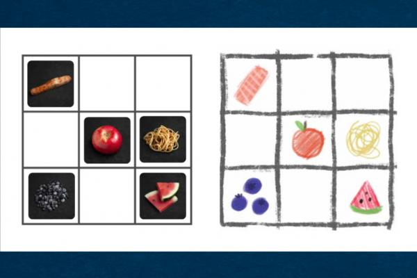 Bingo card with images of food in the squares.