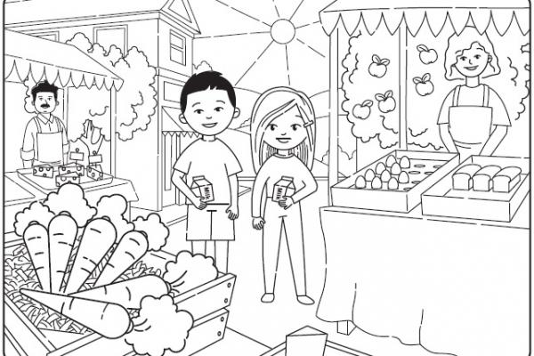 Cartoon image of two students in market scene.