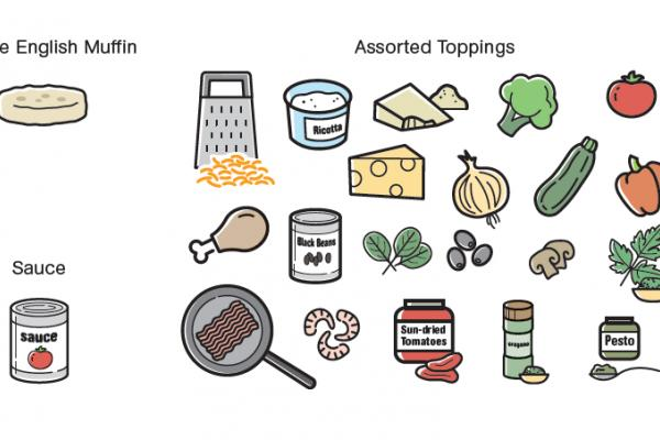 Illustrated image of pizza toppings.