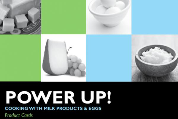 Cover of product cards resource with various foods containing eggs and milk products.