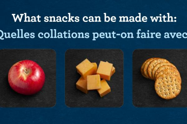 "Slide that reads ""what snacks can be made with:"" ""Quelles collations peut-on faire avec :"". Images of apple, Cheddar cheese, and crackers below."