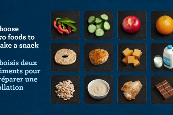 "Slide showing 12 Food Picture Cards with text that reads ""Choose two foods to make a snack"""