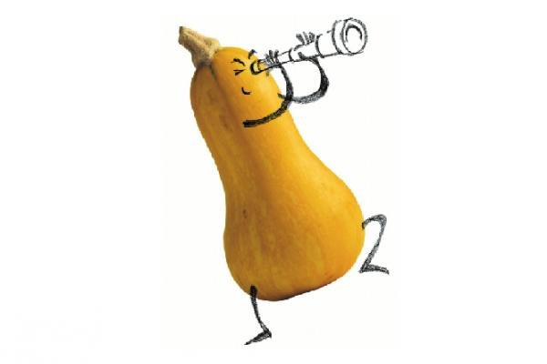 Image of squash with arms and legs drawn on to look as though it is looking through a telescope.