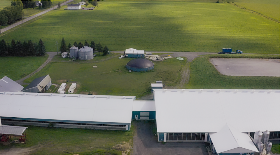 Aerial view of a biodigester on a Canadian farm
