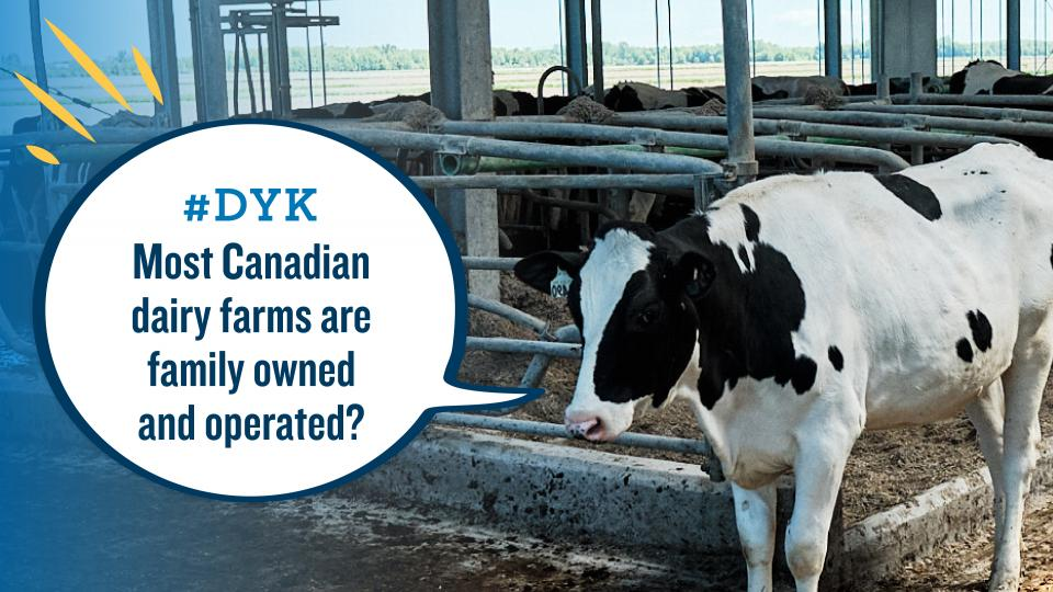 In Canada, most dairy farms are family owned and operated.