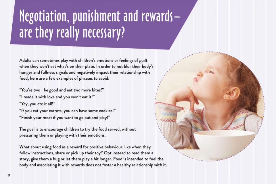 Information about negotiation punishment and rewards with food
