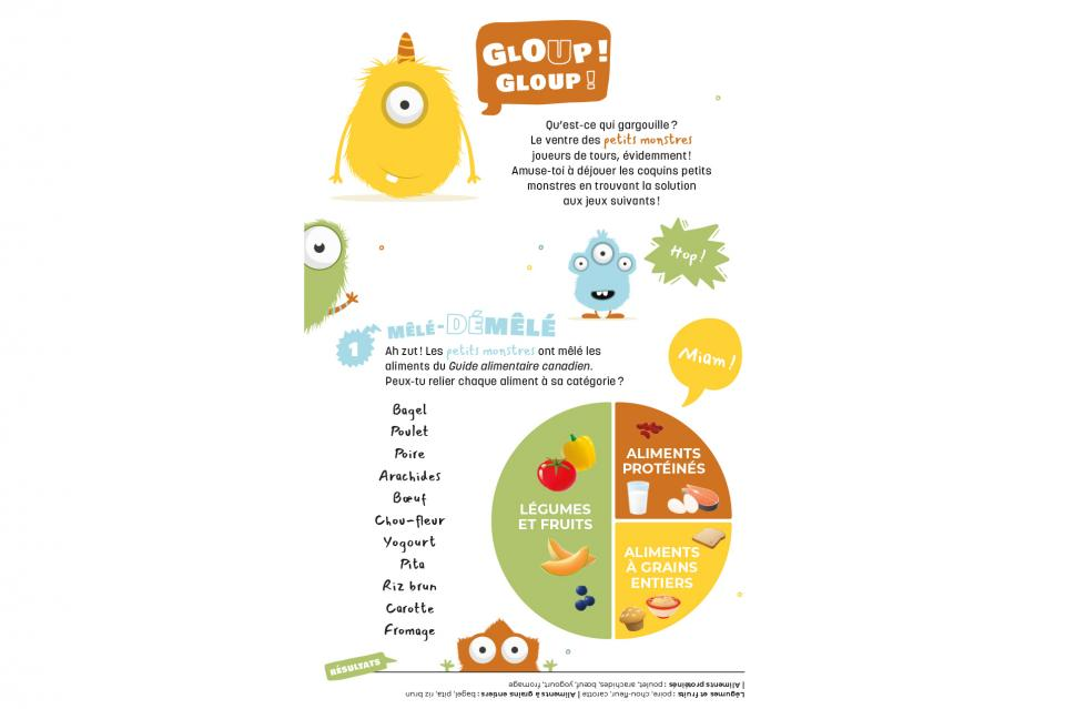 Page 1 of free activity book on Canada's Food Guide (Cycle 1)