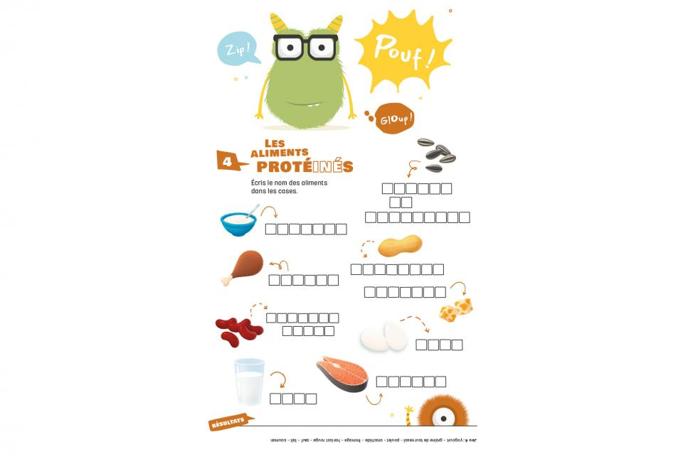 Page 3 of free activity book on Canada's Food Guide (Cycle 1)