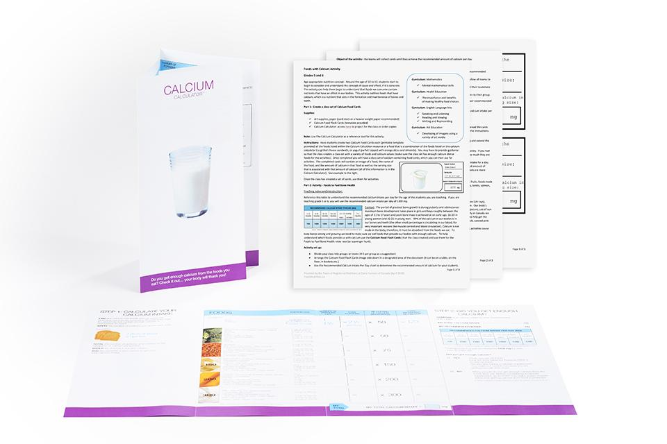 calcium calculator brochure and activity sheet for students