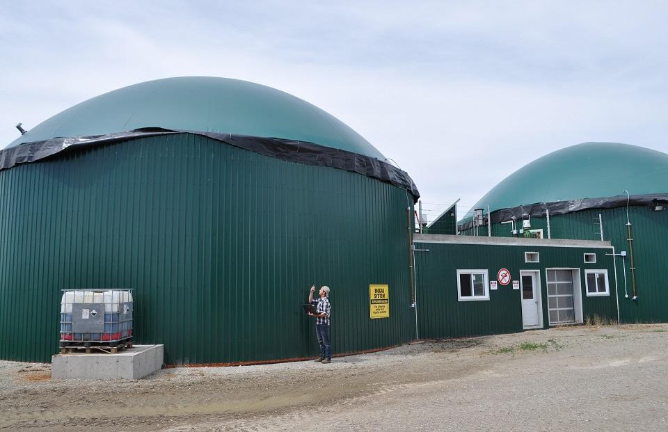 A biodigester on a Canadian dairy farm