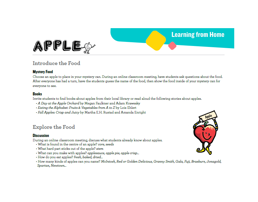 Image of apple lesson plan adapted for learn from home environments.