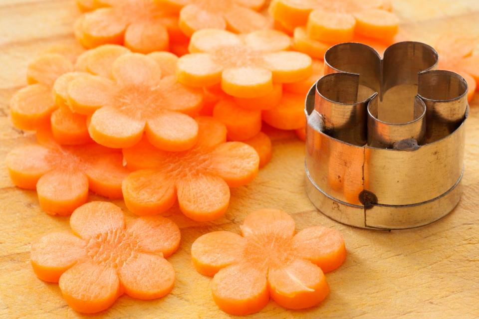 Carrots cut with cookie cutter