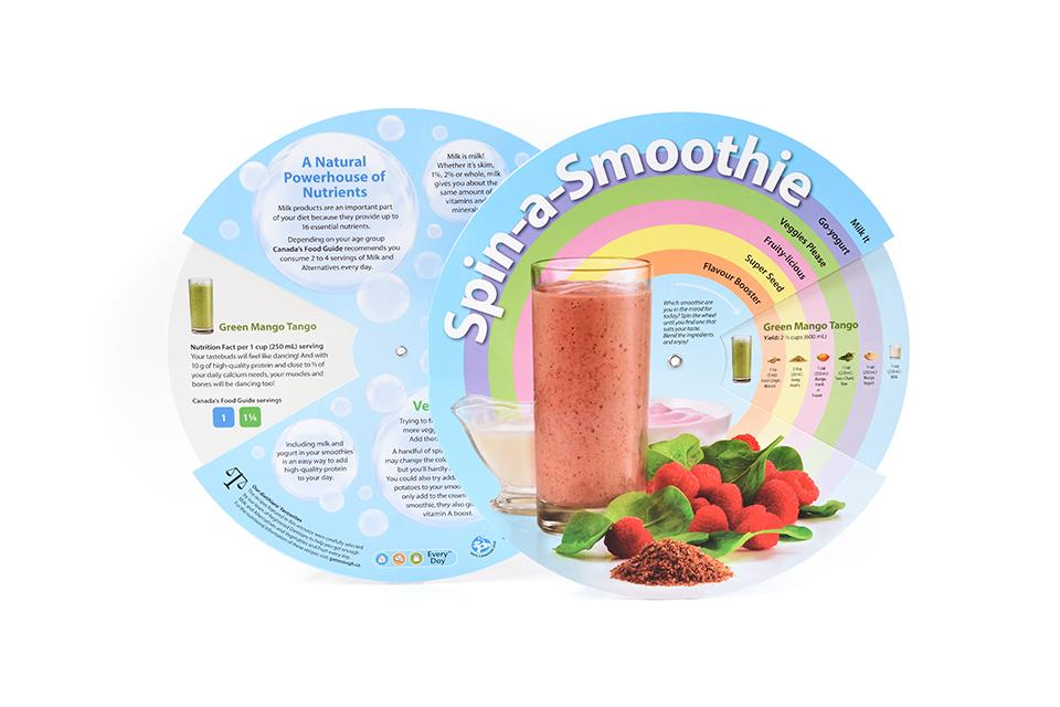 wheel showing variety of smoothie recipes
