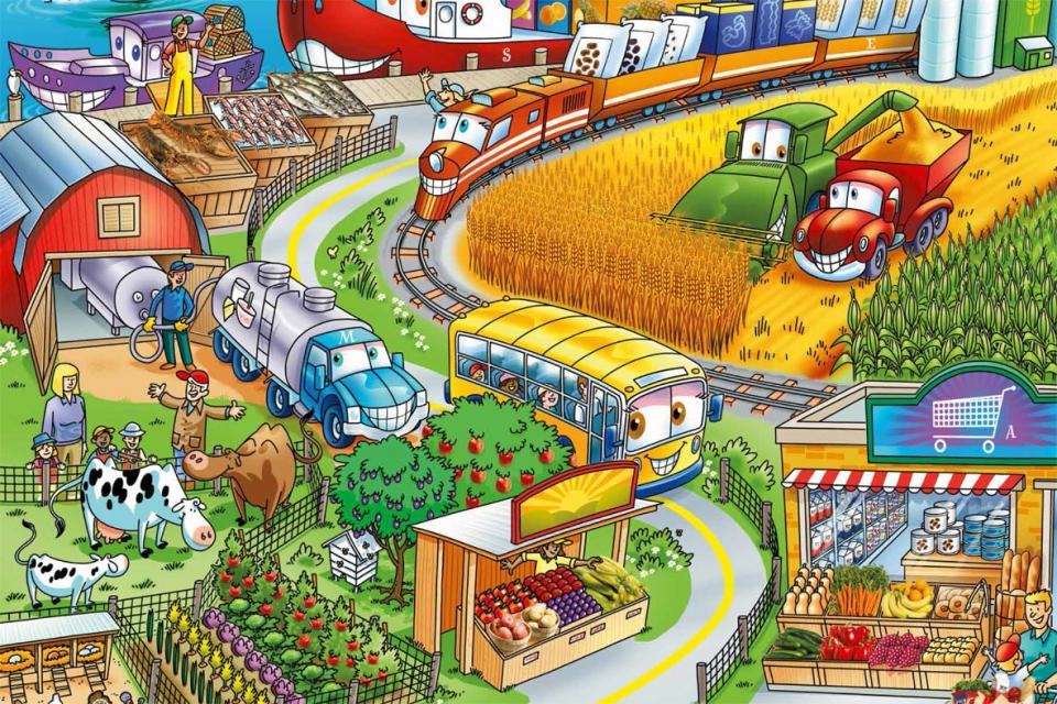 Poster showing different places where foods are produced