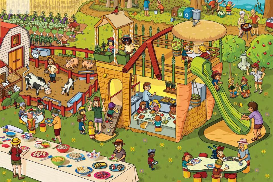 Poster showing a playground, a farm and people eating together
