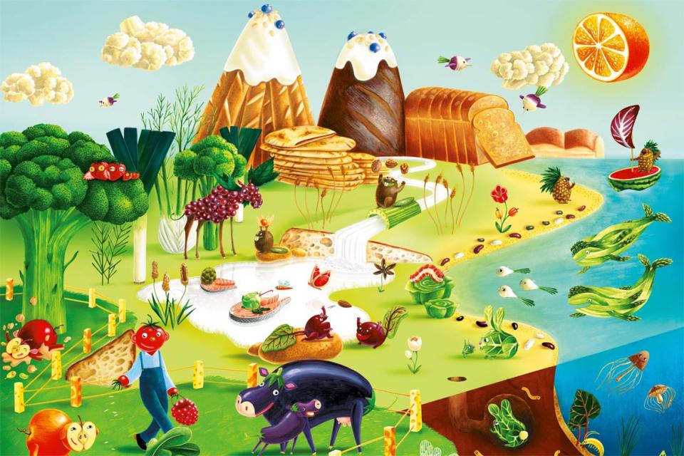 Poster with food landscape