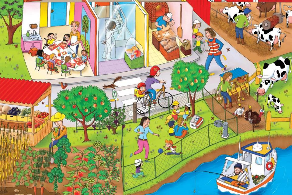 Poster showing a garden, farm, a man fishing and other places where food comes from