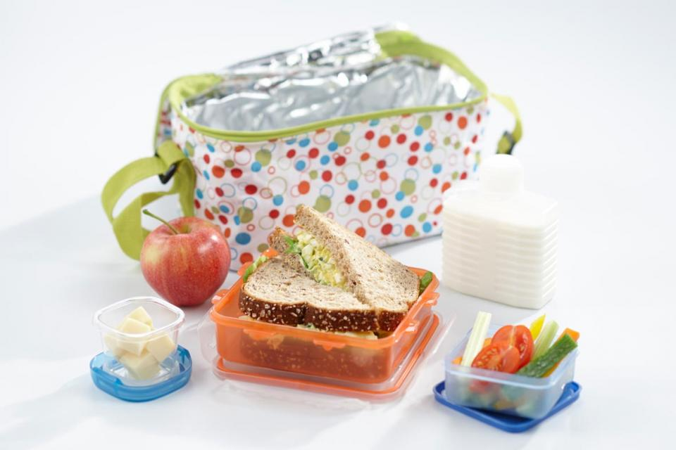 Lunch box with a sandwich, apple, milk, veggies and cheese in individual containers