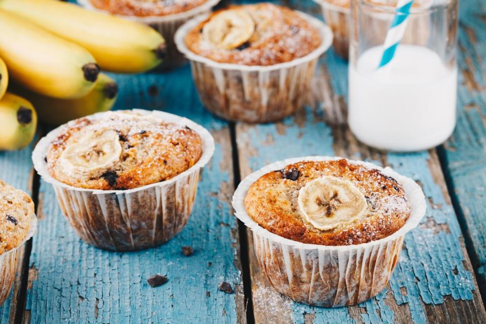Muffins, milk and bananas