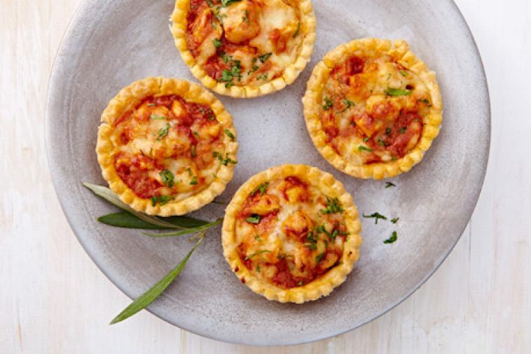 Homemade butter chicken tarts with gouda