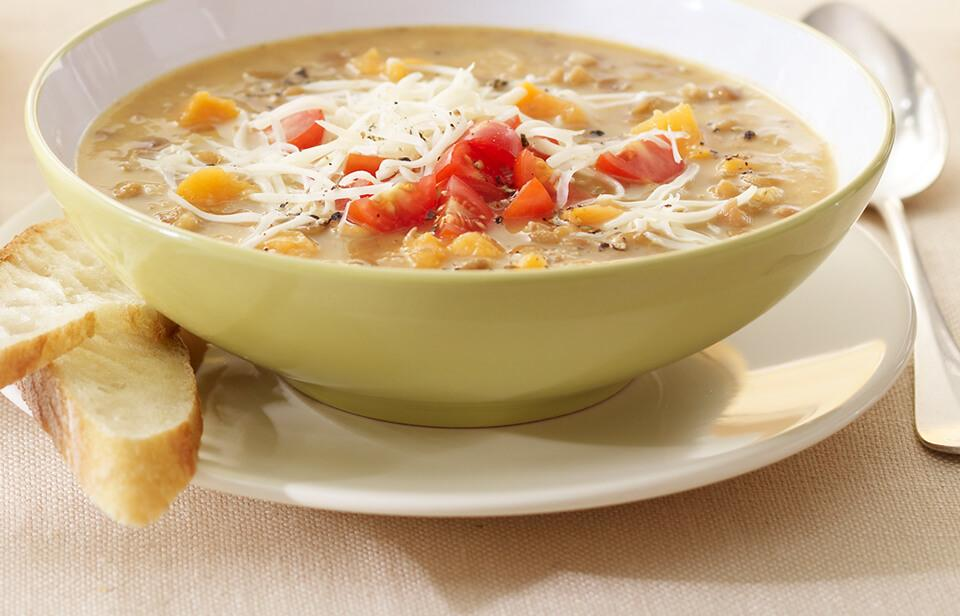 Gouda and lentil soup