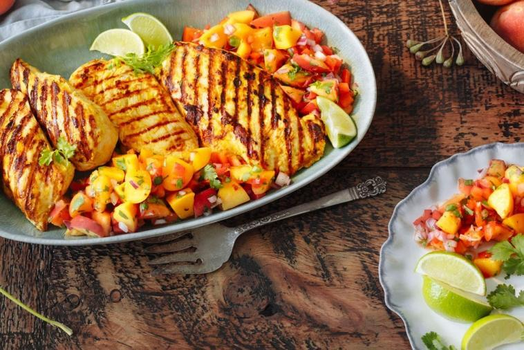 BBQ tandoori chicken with peach pico de gallo