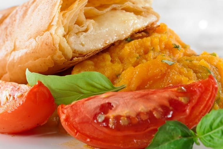 avonlea clothbound cheddar feuillete with sweet potato puree and roasted tomatoes